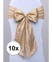 Feest 10x bruiloft stoel decoratie gouden strik