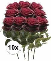 Feest 10x donker rode rozen simone kunstbloemen 45 cm