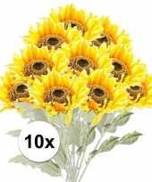 Feest 10x gele zonnebloem kunstbloemen 82 cm