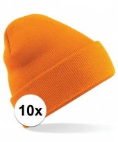 Feest 10x heren winter muts oranje