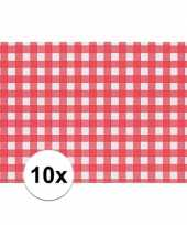 Feest 10x placemat rood wit geblokt 43 x 30 cm