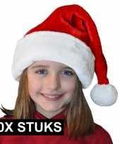 Feest 10x pluche luxe kerstmutsen rood wit voor kinderen