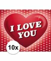 Feest 10x romantische valentijnskaart i love you met hartjes
