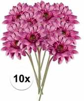 Feest 10x roze gerbera kunstbloemen 47 cm