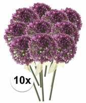 Feest 10x roze paarse sierui kunstbloemen 70 cm