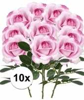 Feest 10x roze rozen carol kunstbloemen 37 cm