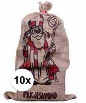Feest 10x sinterklaas zakken van jute 60 x 102 cm