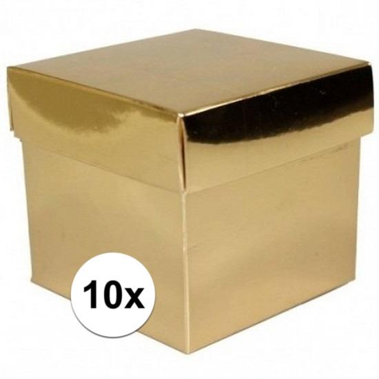 Feest 10x stuks gouden cadeaudoosjes 10 cm vierkant