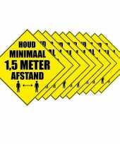 Feest 10x waarschuwingssticker houd 1 5 meter afstand sticker 10 5 cm