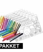 Feest 12 pasen kleurplaten placemats pakket met stiften en potloden