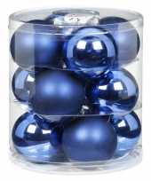 Feest 12x blauwe glazen kerstballen 8 cm glans en mat