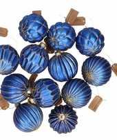 Feest 12x blauwe luxe glazen kerstballen met gouden decoratie 6 cm
