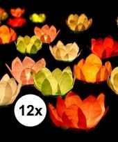 Feest 12x bruiloft huwelijk drijvende kaarsen lantaarns bloemen 29 cm