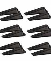 Feest 12x deurstopper deurwig kunststof zwart