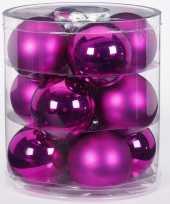 Feest 12x fuchsia glazen kerstballen 8 cm glans en mat