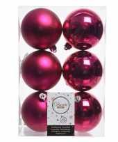 Feest 12x fuchsia roze kerstversiering kerstballen kunststof 8 cm