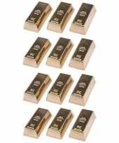 Feest 12x goudstaven magneet 6 cm