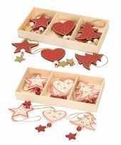 Feest 12x houten kersthangers kerstornamenten wit en rode figuurtjes 10 cm