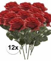 Feest 12x kunstbloem roos rood