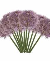 Feest 12x lila paarse allium sierui kunstbloemen 65 cm