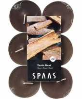 Feest 12x maxi geurtheelichtjes exotic wood taupe 10 branduren