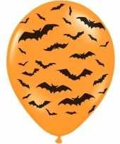 Feest 12x oranje zwarte halloween ballonnen 30 cm met vleermuizen prin