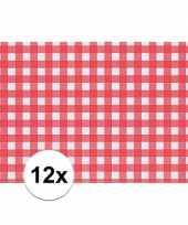 Feest 12x placemat rood wit geblokt 43 x 30 cm