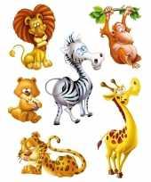 Feest 12x raamstickers jungle dieren raamdecoratie