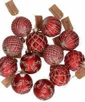 Feest 12x rode luxe glazen kerstballen met gouden decoratie 6 cm