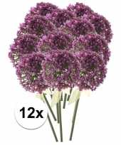 Feest 12x roze paarse sierui kunstbloemen 70 cm