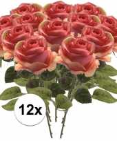 Feest 12x roze roos kunstbloem simone 45 cm