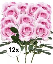 Feest 12x roze rozen carol kunstbloemen 37 cm