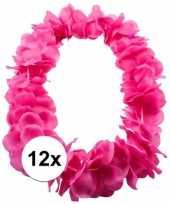 Feest 12x tropical krans neon roze