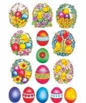 Feest 135x gekleurde paaseieren met bloemen en kuikens stickers