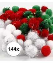Feest 144x gekleurde knutsel pompons 15 20 mm