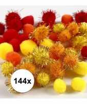 Feest 144x knutsel pompons 15 20 mm kleuren