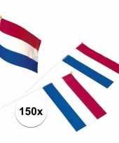 Feest 150x holland zwaaivlaggetjes van plastic