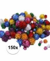 Feest 150x knutsel pompons 15 40 mm glitterkleuren