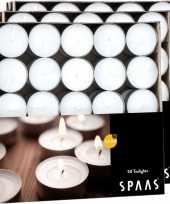 Feest 150x witte theelichtjes waxinelichtjes 4 5 branduren in doos