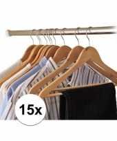 Feest 15x houten kledinghangers