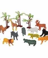 Feest 15x plastic speelgoed wilde dieren in emmer