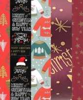 Feest 15x rollen kerst inpakpapier cadeaupapier diverse prints 2 5 x 0 7 meter voor volwassenen