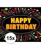 Feest 15x verjaardag wenskaart happy birthday