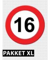 Feest 16 jarige verkeerbord decoratie pakket xl