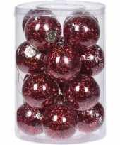 Feest 16x doorzichtige kunststof kerstballen met rode decoratie 8 cm