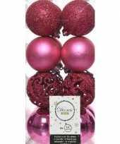 Feest 16x fuchsia roze kerstballen 6 cm kunststof mix