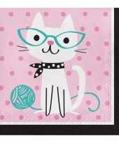 Feest 16x katten poezen thema servetten