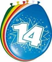 Feest 16x stuks leeftijd ballonnen 14 jaar