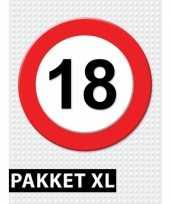 Feest 18 jarige verkeerbord decoratie pakket xl