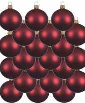 Feest 18x donkerrode glazen kerstballen 8 cm mat